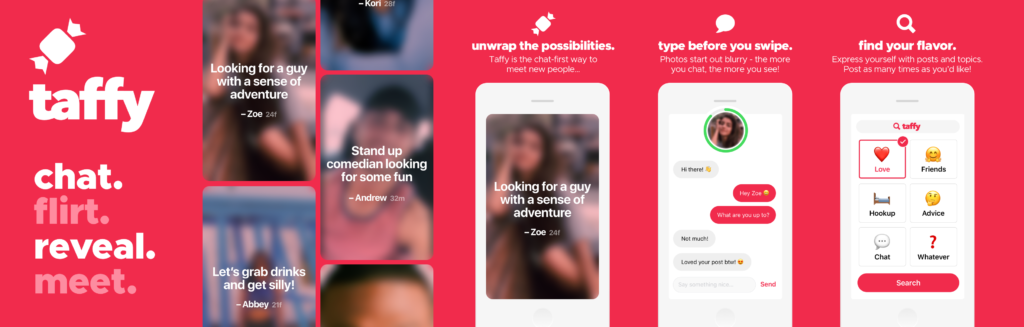 The graphic for the dating app Taffy, showing how the blurry images look with their catchy headlines.
